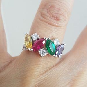 Multi Color Stone Engagement Ring Wedding Band 6
